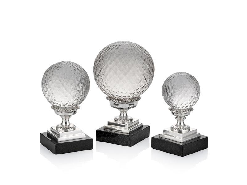 Mermer Tabanlı Gümüş Renk Dekoratif 3'lü Toplar