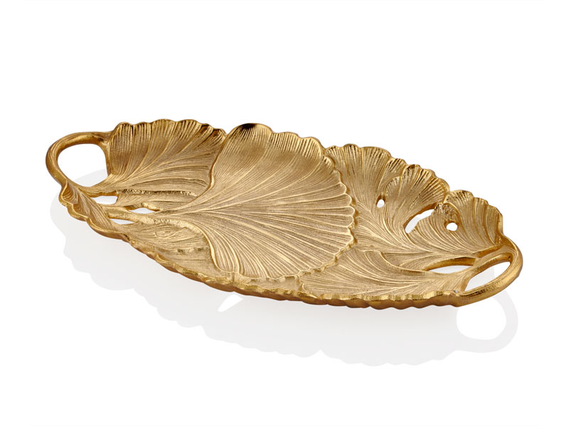 Gıngko Yapraklı Gold Oval Dekoratif