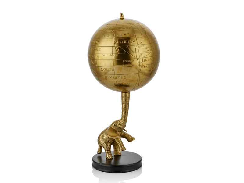 Elefante Dekoratif Fil Ve Dünya Gold Büyük