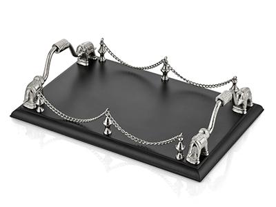 Elefante Fil Detaylı Dikdörtgen Tepsi Silver